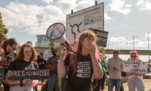 Protesters outside the DSEI arms fair at the Excel Centre in London on 8 September.