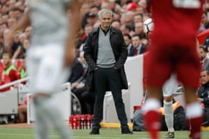 Jose Mourinho looks on happily during the Liverpool v Manchester United F.A. Premier League match at Anfield on October 14th 2017
