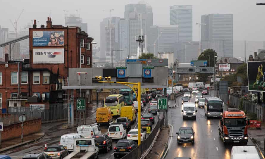 Traffic at the Blackwall Tunnel in London