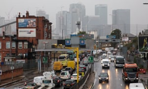 Vehicles queue during the morning rush hour on the Blackwall Tunnel approach in Greenwich, London