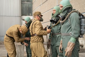 Suiting up ... heroic scientists in the TV drama Chernobyl.