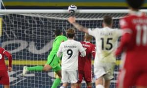 Patrick Bamford of Leeds United hits the cross Bar.
