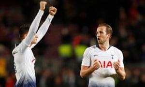 Harry Kane celebrates with Erik Lamela after the match.