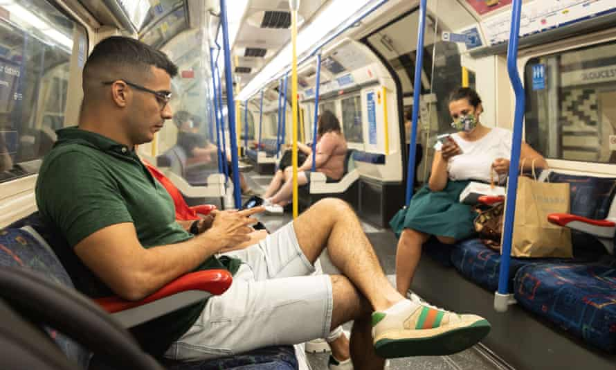 Commuters on the London underground.