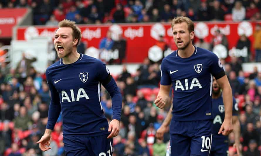 Tottenham Hotspur's Christian Eriksen and Harry Kane both claom Tottenham's winner at Stoke before the England striker swore on his daughter's life that the Dane's free-kick brushed his shoulder.