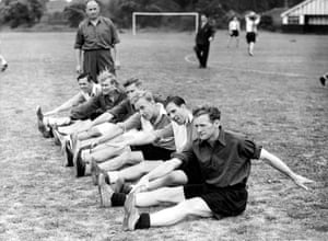 The England team gather at Dulwich for special training on 13 June 1950: Bill Eckersley, Wilf Mannion, Roy Bentley, Billy Wright, Edward Baily, and Tom Finney.