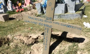 The grave of a person who drowned in the river between Piedras Negras, Mexico, and Eagle Pass, Texas, on 6 November 2018, presumed to be a migrant trying to cross unlawfully into the US.