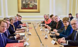 Theresa May, fourth left, and Nicola Sturgeon, second right, at joint ministerial committee in Cardiff