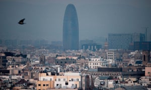 Smog around Agbar tower in Barcelona in 2015.