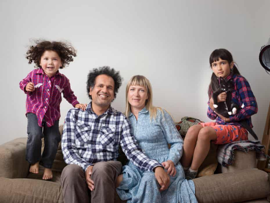 Sarfraz Manzoor with his wife, Bridget, and daughters Ezra and Laila.