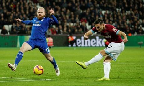 West Ham's Lucas Pérez takes advantage after Cardiff fluff penalty