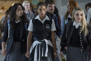 Megan Lawless, Amandla Stenberg and Sabrina Carpenter in The Hate U Give.
