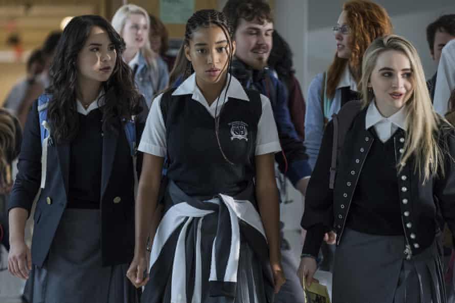 Megan Lawless, Amandla Stenberg and Sabrina Carpenter in The Hate U Give.