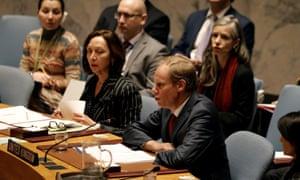 British ambassador to the UN Matthew Rycroft speaks in support of the resolution.