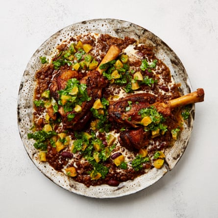 Yotam Ottolenghi's lamb shanks with beluga lentils and apricots.