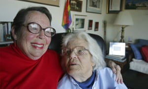 Phyllis Lyon, left, and her wife Del Martin at their home in San Francisco.