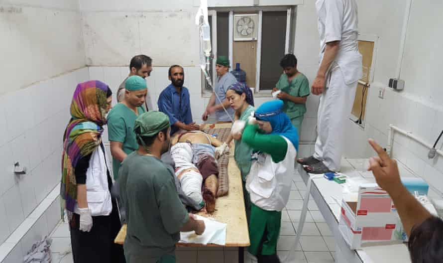 Chaos … Kunduz hospital in October, as US forces pounded the compound from a gunship
