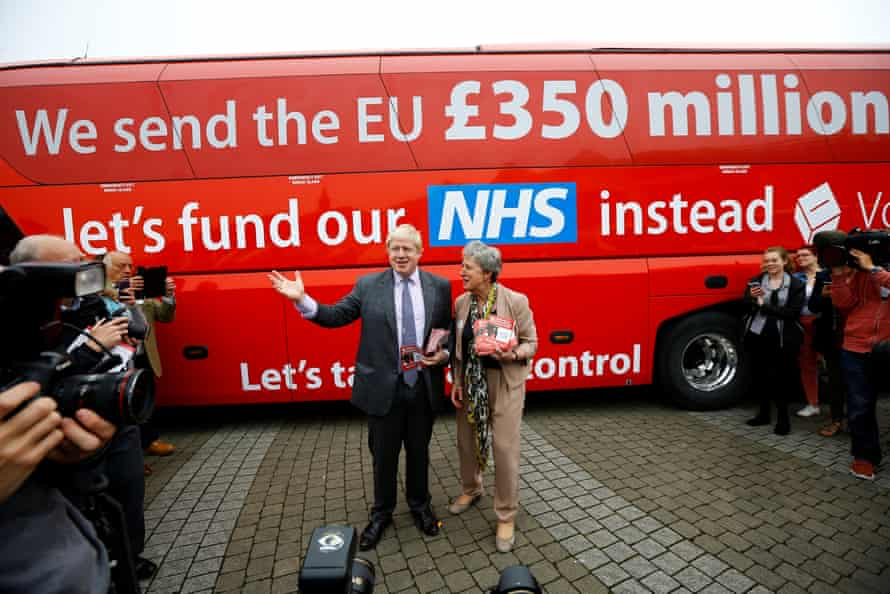 Boris Johnson at the launch of the Vote Leave bus campaign in May 2016.