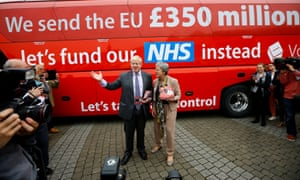Boris Johnson speaks at the launch of the Vote Leave bus campaign in 2016.