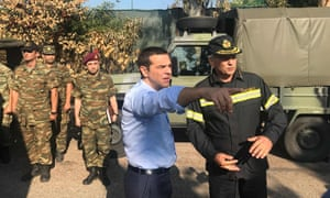 Alexis Tsipras visits area ravaged by wildfires