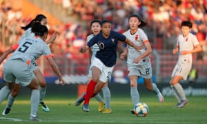 France's Delphine Cascarino leads the Chinese defence on a merry dance during their friendly in Paris last month, which the World Cup hosts won 2-1.