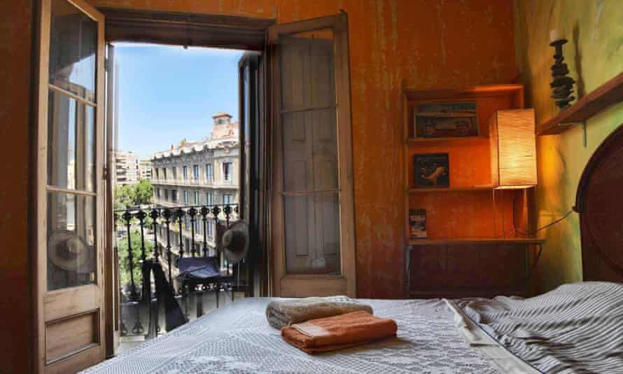 A bedroom at the Chez Papa guesthouse in Barcelona.