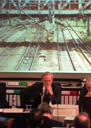 Lord Cullen, chairman of the Ladbroke Grove crash inquiry, listens to closing submissions to the inquiry in Westminster Central Hall on 27 July 2000