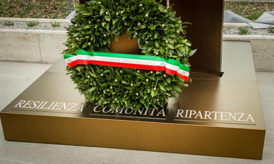A memorial dedicated to the victims of the coronavirus pandemic in Codogno, Lombardy