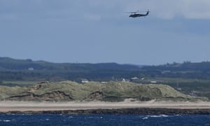 Marine One, carrying Donald and Melania Trump, departs Doonbeg for Shannon airport last June