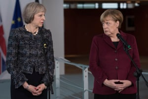 Theresa May, left, and Angela Merkel