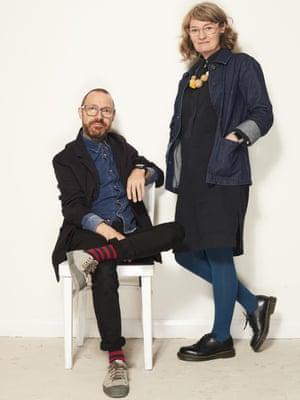 Stephen Caton, 47, and Catherine Caton, 47, both DesignersNavy jacket, £89, socks, £4, and indigo jacket, £89