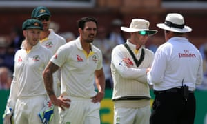 Mitchell Johnson appeals to the umpire