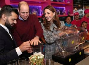 Yorkshire, EnglandPrince William and Catherine, Duchess of Cambridge help to make Kulfi milkshakes at a restaurant in Bradford.