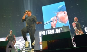 Chuck D of Public Enemy Radio, centre, at the Gods of Rap concert at Wembley Arena, London.