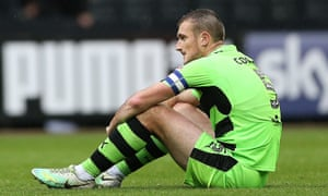 Forest Green Rovers's captain Lee Collins after his side conceded in the 96th minute to draw at Notts County.