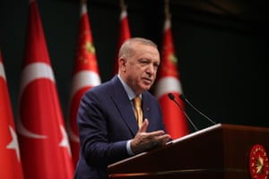 Recep Tayyip Erdoğan makes a speech after the cabinet meeting at the Presidential Complex in Ankara, Turkey.