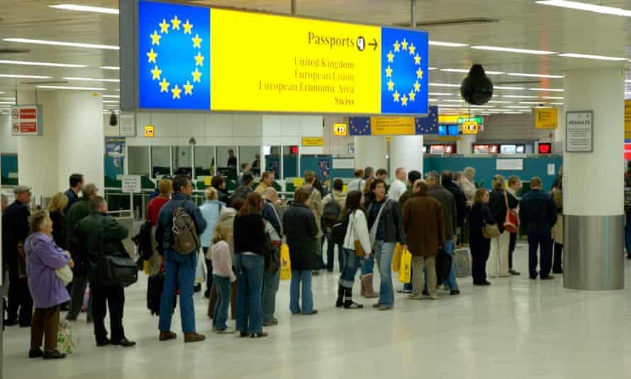 Passport queue at airport