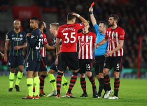 A red card is shown on Pierre-Emile Hojbjerg of Southampton (not pictured).