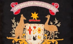 Part of a cotton cushion cover depicting the Australian coat of arms embroidered by Lance Corporal Albert Biggs