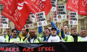 Steelworkers protested in London on Wednesday