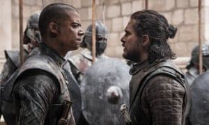 One of those Unsullied people and a sad Jon Snow.