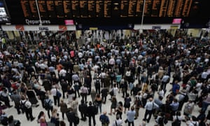 a throng of commuters at Waterloo