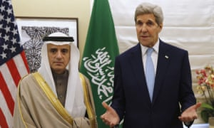 Saudi Arabia's foreign minister Adel al-Jubeir with the US secretary of state, John Kerry