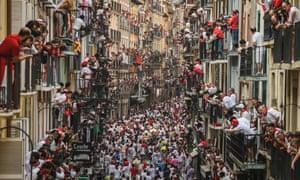 The San Fermin bull run festival in Pamplona, northern Spain.