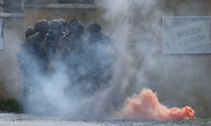 A demonstration during a visit by defence secretary Gavin Williamson to Salisbury Plains training area.
