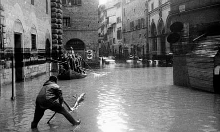 A flooded street in Florence.