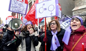 Women take part in a rally on the occasion of the International Women's Day at San Marcelo square in Leon, Spain.