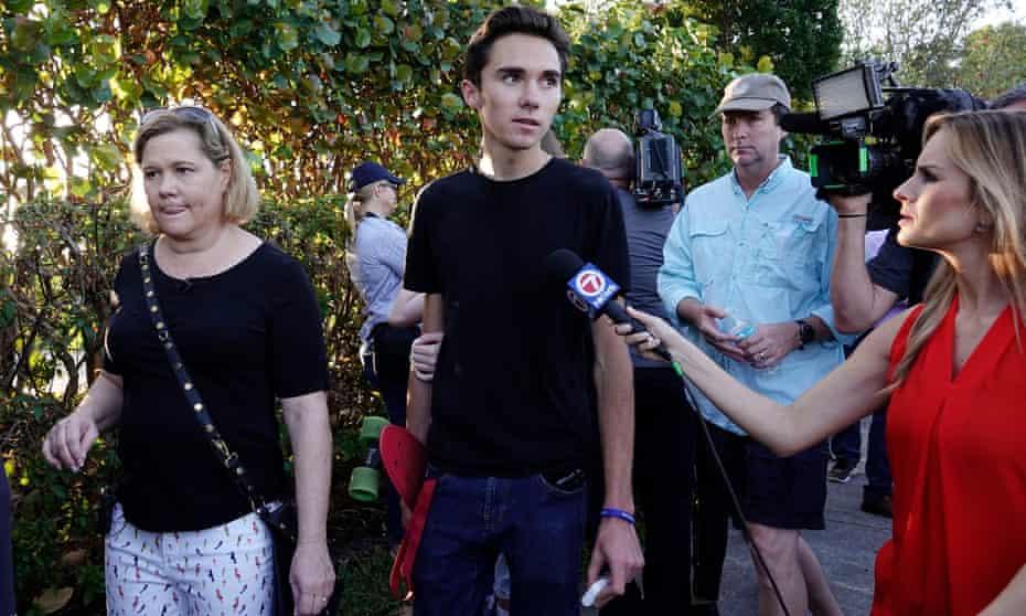 Florida high school student David Hogg speaks to the media.
