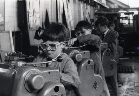 Schoolboys doing metalwork, early 1960s