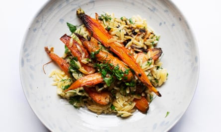 The future is orange: carrots with shallots and orzo.